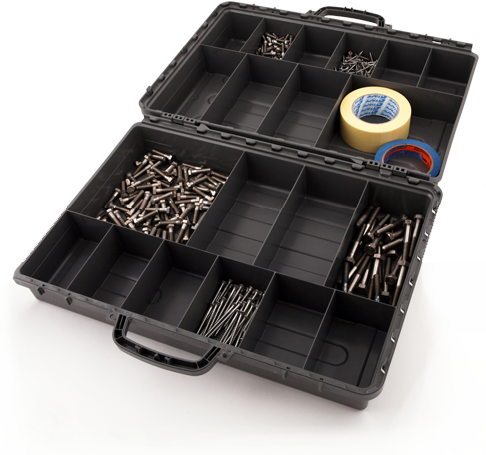 <h1>Exactapak</h1><p>Double sided storage cases with clear polycarbonate internal lid for easy vision of contents. Tough ABS construction. Contents remain locked in, no overflow.</p><a href='http://tiptopplastics.com.au/products/'>Learn More</a>