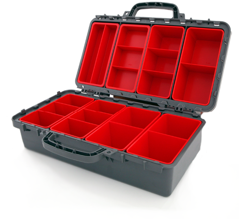 &lt;h1&gt;Multi 10&lt;/h1&gt;&lt;p&gt;Double sided storage cases with clear polycarbonate internal lid for easy vision of contents. Tough ABS construction. Contents remain locked in, no overflow.&lt;/p&gt;<a href='http://tiptopplastics.com.au/products/'>Learn More</a>